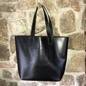 🍂black leather FRYE logo tote bag purse handbag
